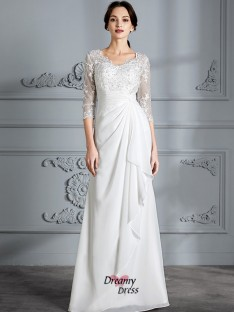 Sheath/Column V-neck Chiffon Floor-Length Wedding Dress