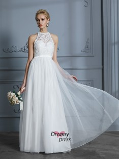 A-Line Scoop Tulle Floor-Length Wedding Dress