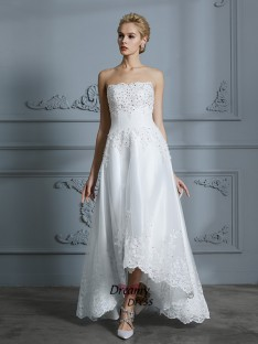 A-Line Sweetheart Asymmetrical Tulle Wedding Dress