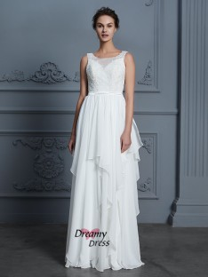 A-Line Scoop Floor-Length Chiffon Wedding Dress
