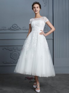 A-Line Scoop Tea-Length Tulle Wedding Dress