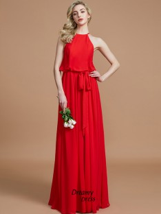 A-Line/Princess Halter Sash/Ribbon/Belt Floor-Length Chiffon Bridesmaid Dress