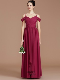 A-Line/Princess Off-the-Shoulder Ruched Floor-Length Chiffon Bridesmaid Dress
