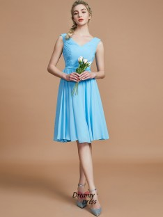 A-Line/Princess V-neck Ruched Short/Mini Chiffon Bridesmaid Dress