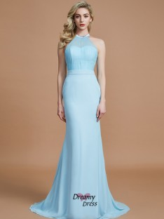 Trumpet/Mermaid Scoop Sweep/Brush Train Chiffon Bridesmaid Dress