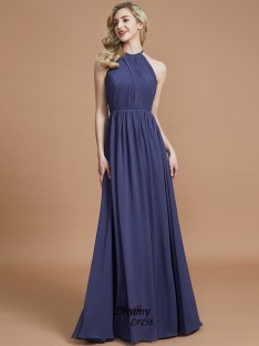 A-Line/Princess Scoop Chiffon Floor-Length Bridesmaid Dress
