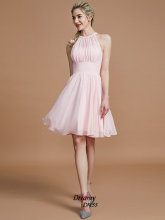 A-Line/Princess Chiffon Knee-Length Scoop Bridesmaid Dress