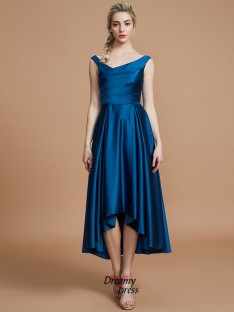 A-Line/Princess V-neck Satin Asymmetrical Bridesmaid Dress