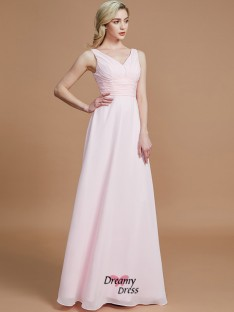 A-Line/Princess Floor-Length Chiffon V-neck Bridesmaid Dress