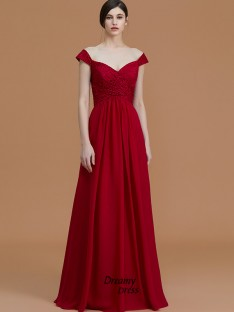 A-Line/Princess V-neck Floor-Length Lace Chiffon Bridesmaid Dress