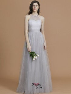 A-Line/Princess Halter Floor-Length Ruffles Tulle Bridesmaid Dress