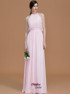 A-Line/Princess Halter Floor-Length Ruffles Chiffon Bridesmaid Dress
