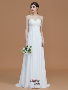 A-Line/Princess Sweetheart Sweep/Brush Train Beading Chiffon Bridesmaid Dress