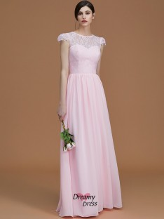 A-Line/Princess Jewel Floor-Length Lace Chiffon Bridesmaid Dress