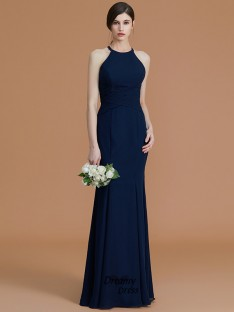 Trumpet/Mermaid Halter Floor-Length Ruched Chiffon Bridesmaid Dress