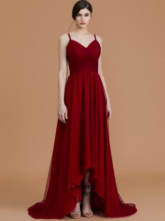 A-Line Spaghetti Straps Asymmetrical Chiffon Bridesmaid Dress