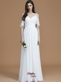 A-Line/Princess Spaghetti Straps Floor-Length Ruffles Chiffon Bridesmaid Dress