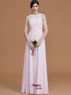 A-Line/Princess Jewel Floor-Length Ruched Chiffon Bridesmaid Dress
