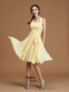 A-Line Halter Short/Mini Chiffon Bridesmaid Dress