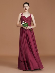 A-Line Sweetheart Chiffon Floor-Length Bridesmaid Dress