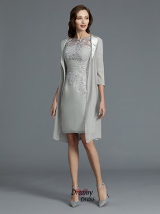 Sheath/Column Scoop Chiffon Short/Mini Mother of the Bride Dress