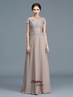 A-Line Scoop Floor-Length Chiffon Mother of the Bride Dress