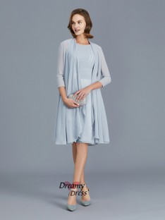 A-Line Scoop Chiffon Knee-Length Mother of the Bride Dress