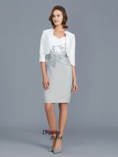 Sheath V-neck Chiffon Knee-Length Mother of the Bride Dress