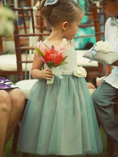 A-Line Square Tea-Length Hand-Made Flower Tulle Flower Girl Dress