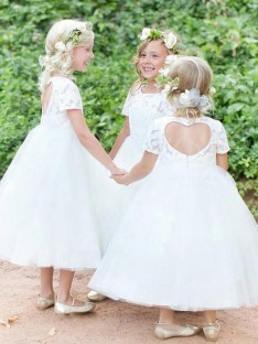 Ball Gown Short Sleeves Scoop Tea-Length Lace Tulle Flower Girl Dress