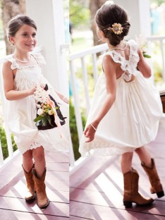 A-Line Square Knee-Length Lace Chiffon Flower Girl Dress