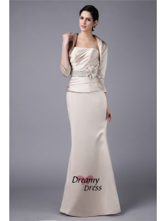 Sheath Strapless Elastic Woven Satin Mother of the Bride Dress