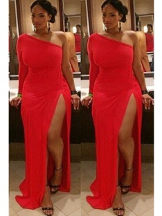 Sheath/Column One-Shoulder Sweep/Brush Train Spandex Plus Size Dress