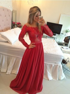 A-Line Off-the-Shoulder Chiffon Long Dress
