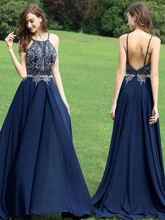 A-Line/Princess Halter Chiffon Floor-Length Dress