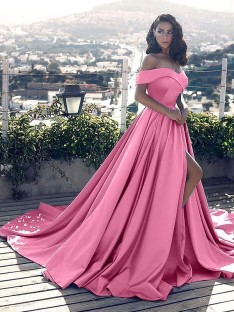A-Line/Princess Off-the-Shoulder Satin Court Train Dress