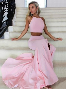 A-Line Halter Sweep/Brush Train Satin Two Piece Dress