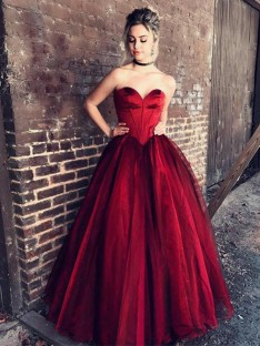 Ball Gown Sweetheart Sleeveless Floor-Length Tulle Dress
