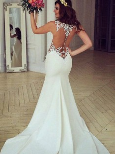 Mermaid Scoop Sweep/Brush Train Lace Wedding Dress