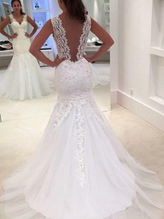 Mermaid Court Train V-neck Lace Wedding Dress