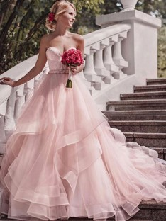 Ball Gown Sweetheart Court Train Layers Organza Wedding Dress