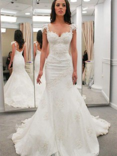 Mermaid Sweetheart Chapel Train Lace Wedding Dress