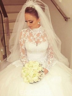 Ball Gown High Neck Cathedral Train Lace Wedding Dress