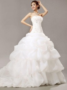 Ball Gown Strapless Cathedral Train Lace Organza Wedding Dress