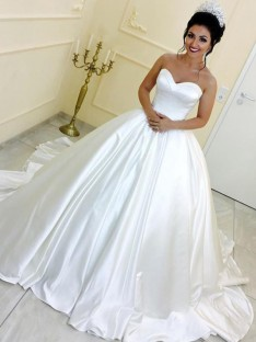Ball Gown Sweetheart Satin Cathedral Train Wedding Dress