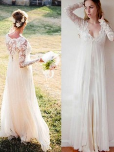 Empire V-neck Chiffon Lace Floor-Length Wedding Dress