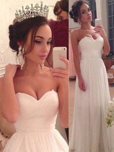 A-Line Sweetheart Chiffon Floor-Length Wedding Dress