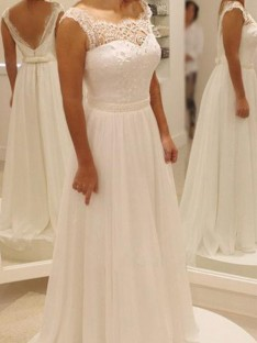 A-Line Chiffon Lace Scoop Sweep/Brush Train Wedding Dress
