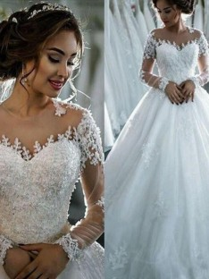 Ball Gown Tulle Scoop Chapel Train Wedding Dress