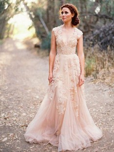 A-Line Tulle V-neck Sweep/Brush Train Wedding Dress